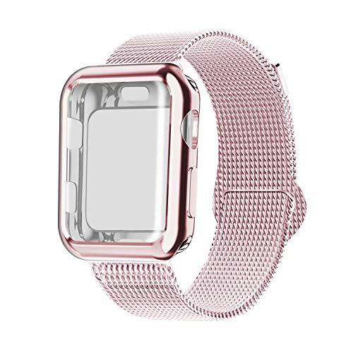 INZAKI Kompatibel für Apple Watch Armband mit Hülle 38mm, Edelstahl Netz Milanese Schlaufen Armband mit Displayschutz Schlankes case für iWatch Series 3/2 / 1, Sport, Edition,Rosa