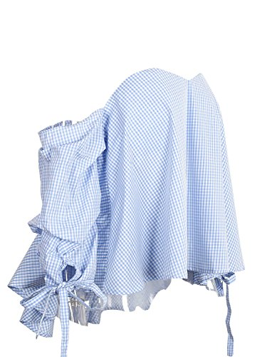 Simplee Apparel - Chemisier - Femme Blue White Plaid