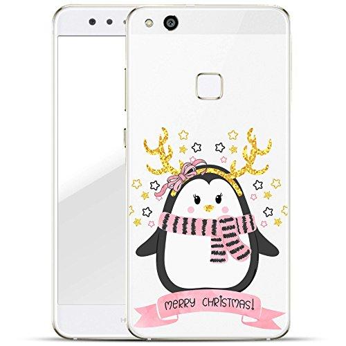 Finoo Huawei P10 Lite Hard Case Handy-Hülle Weihnachten Motiv   dünne stoßfeste Schutz-Cover Tasche mit lizensiertem Muster   Premium Case für Dein Smartphone  Pinguin Merry Christmas Sterne Weihnachten Hard Case