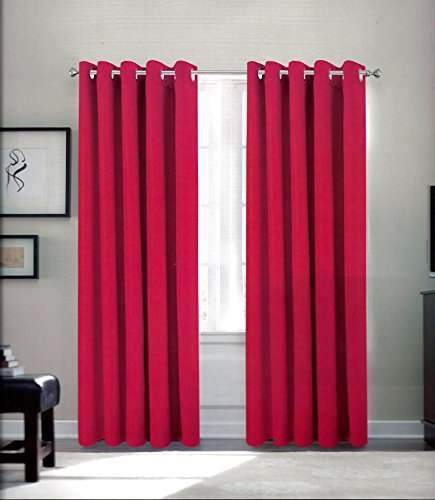 Thermal Eyelet Blackout Curtains by Feathers & Linen (Red, 90×90) by Comfy Tex