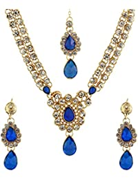 The Luxor Gold Plated Blue Designer Pendant Necklace Set For Women (NK-1723)