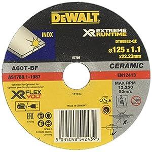 51tH ADFw1L. SS300  - Dewalt DT99582-QZ Discos de corte con grano cerámico para acero inoxidable 125 mm x 1.1 mm - Plano, 0 W, 0 V, talla única