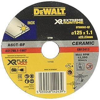 Dewalt DT99582-QZ Discos de corte con grano cerámico para acero inoxidable 125 mm x 1.1 mm – Plano, 0 W, 0 V, talla única
