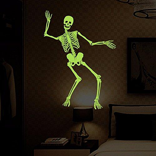 RUIPENGPENG Wandbild zitat Aufkleber Aufkleber wasserdicht Abnehmbare für Wohnzimmer TV Hintergrund Kinder Baby Nursery Das fluoreszierende skelett skelett Halloween Dekorationen glow-in-the-60* 90 cm