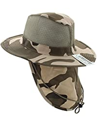 386e56e2c9958a Wide Brim Men Safari/Outback Summer Hat With Neck Flap (Extra Large, Light
