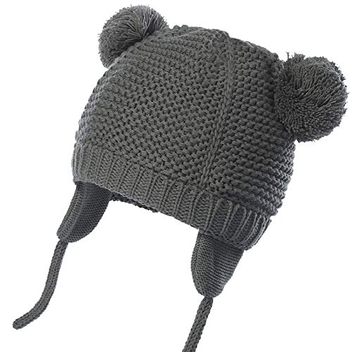 WELROG Unisex - Baby Mütze Beanie Strickmütze Kleinkind Warm Mütze Hut Winter Earflap (Grau, 2-3 Jahre (41.9-52.8cm) / L)