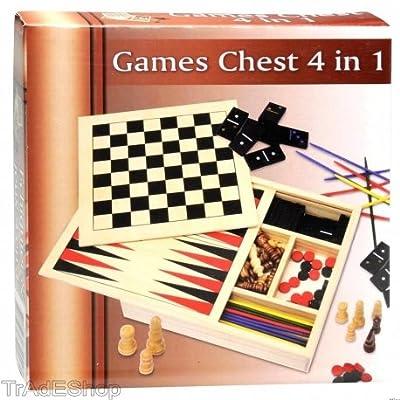 TrAdE shop Traesio- Scatola Giochi in Legno 4 in 1 Scacchi Mikado Domino Backgammon Lifetime Games by TrAdE shop Traesio®
