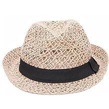 Leisial Mujer Hombre de Sombrero de Paja Sombrero de Sol Playa Gorro Deporte para Unisex Beige Talla Única