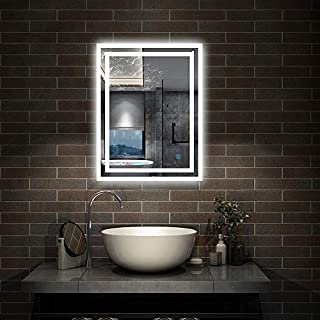 Aica Modern Illuminated LED Bathroom Mirror with Lights, Demister and Touch Sensor Wall Mounted 50x70cm