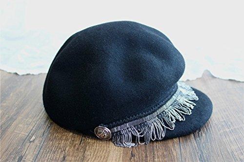 Les peintres Cap lâche la chaîne fine en métal bouton-gavroche chapeau en laine cap Black