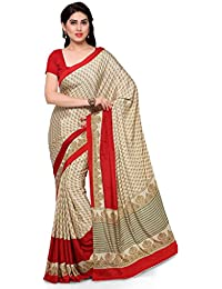 Kvsfab Women'S Crepe Silk Saree With Printed Work,Beige & Red