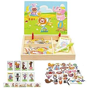 Local Makes A Comeback  - Rompecabezas tridimensional de madera para niños, tablero de dibujo de doble cara Rompecabezas magnético para niños (Circo)