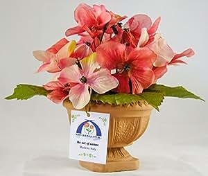 38° Parallelo Creations - Composizione floreale profumata circolare (vari colori) realizzata su vasetto di terracotta decorato - Idea regalo Made in Italy (PEACH)
