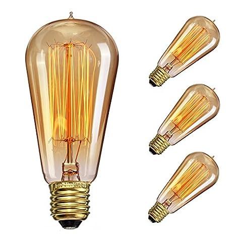 Edison Ampoule Vintage, Elfeland Rétro Ampoule Décorative Antique Lampe (60W, 260LM, 220V), Dimmable Blanc Chaud - 3 Pack
