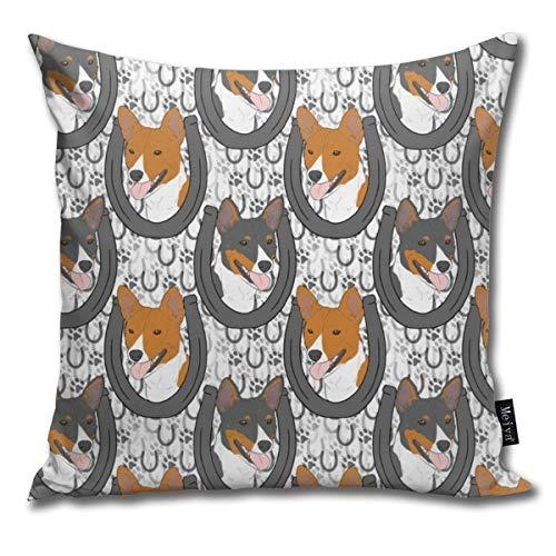 Basenji Horseshoe Portraits Comfortable Soft Bed Pillow Case Household Pillow Case Office Bolster 18x18 Inches (Sex Hug Pillow)