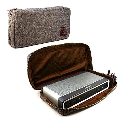 Tuff-Luv Herringbone Tweed weicher Tasche Case Hülle für Bose Soundlink Bluetooth Speaker III 3 with NFC Tag - Braun