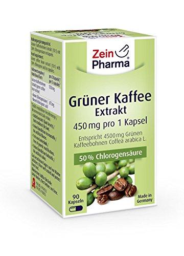 Zein Pharma Grüner Kaffee Extrakt Kapseln 450 mg, 90 Kapseln, 1er Pack (1 x 50 g)