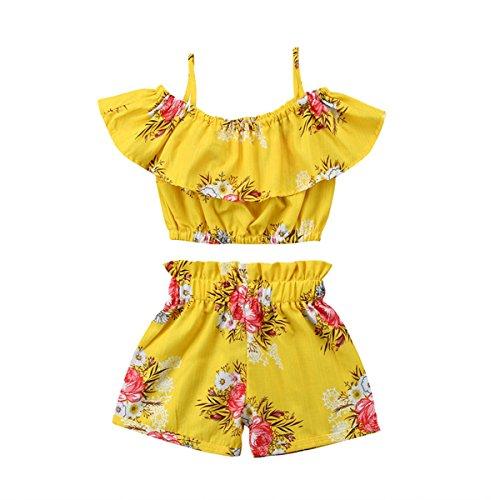 HAOKTY 2 stücke Kinder Mädchen Kleidung Kleinkind Bekleidungsset Tops + Shorts Sommer-Outfit (130) -