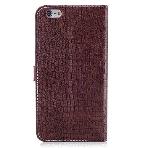 """Pour iPhone 6 Plus / iPhone 6S Plus (5.5"""") Etui Coque Luxe Crocodile Texture PU Cuir Housse à rabat Portefeuille Antichocs Case - Noir Marron"""