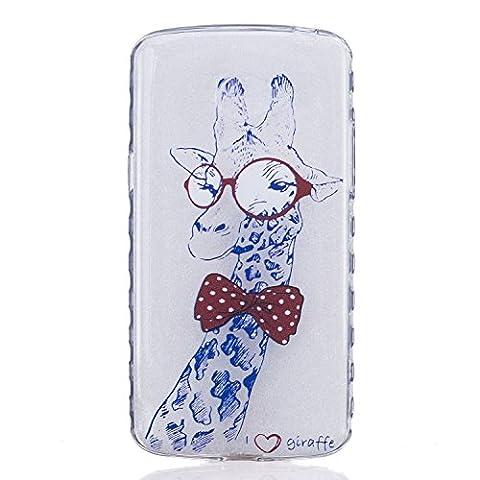 Etui LG K5, Coque LG K5, Cozy Hut® Lunettes de girafe Pattern Etui Housse Téléphone Couverture de doux Plastique Coque pour LG K5 -