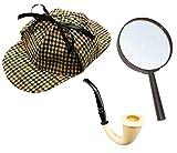 Sherlock Holmes Accessorio Vestito Set Cacciatore CERVI CAPPELLO +  ingrandimento VETRO + Vittoriano LOOK PIPE DETECTIVE ... ad1152d7db96