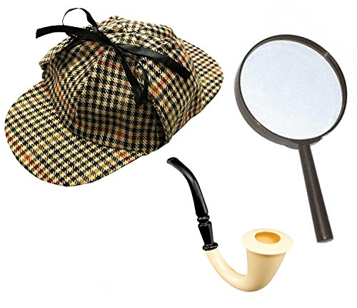 Sherlock Holmes Fancy Dress Zubehörset Deerstalker-hut + Lupe + Viktorianisch Look Röhrenartig Detektive (Kostüme 60 Up Dress)