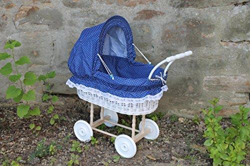Burkhardt Korbwaren Puppenwagen Weiß lackiert  mit Blau mit Punkten und Holzgriff...extra stabil...