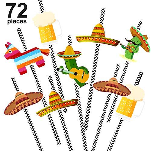 Chuangdi 72 Stück Fiesta Papierstrohe Mexikanische Party Gestreifte Dekorative Strohhalme Kaktus Sombrero Esel Muster Trinkhalme für Festival Party Lieferungen