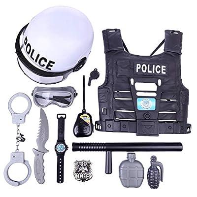 Giplar 11 Pièces Équipement de Police pour Les Enfants - Menottes Casquette Costume de Policier Kit