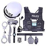 YAKOK 11er Polizei Kinder Kostüm, Polizei Kinder Set, Rollenspiel Polizei, Spielzeug Polizei Set, mit Weste Handschellen Brille Schlagstock