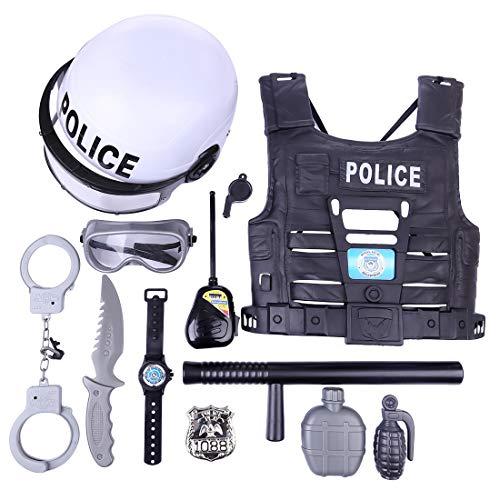 YAKOK 11er Polizei Kinder Kostüm, Polizei Kinder Set, Rollenspiel Polizei, Spielzeug Polizei Set, mit Weste Handschellen Brille - Rollenspiel Kostüm Für Jungs