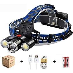Linterna Frontal LED,3000 Lúmenes USB Recargable Linternas Frontales,4 Modos Iluminación,Luces laterales giratorias,Ajustable,Para Lectura Nocturna,Pesca,Ciclismo,Patrullaje,Aventura,Caza etc.