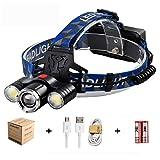 Lampe Frontale LED, Super Puissante USB Rechargeable 4 Mode d'Eclairage, Etanche, Antichoc Lampe Frontale pour Cyclisme, Camping, Randonne, Chasse de Nuit, Lire, Sport (Bleu)