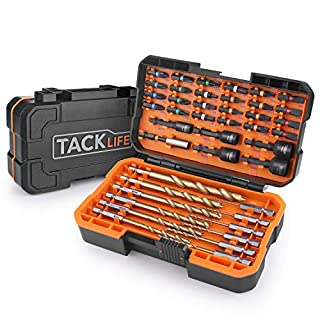 Drill Bits Set, TACKLIFE DNS02 42 Pcs Professional HSS Bits Set, 12 Drill Bits, 24 Screwdriver Bits and 5 Nut Drivers, Adapt for Electric Drills, Bench Drills and Impact Drills, with Solid Case