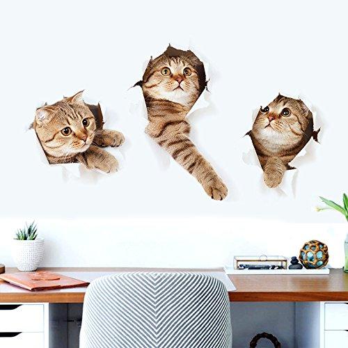 Vinilo gatos 3D gatitos escapando de pared llamativo y original para dormitorios, loft, cocina, baños. salon, habitacion, caravava, pasillo vestidores de 73 x 40 cm novedad 2017 de OPEN BUY