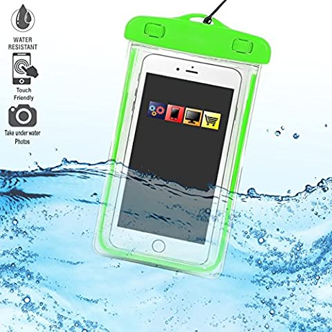 Samsung Galaxy C7 Green TRANSPARENT Underwater Protection Touch Responsive Dry Bag Case Cover for Samsung Galaxy C7