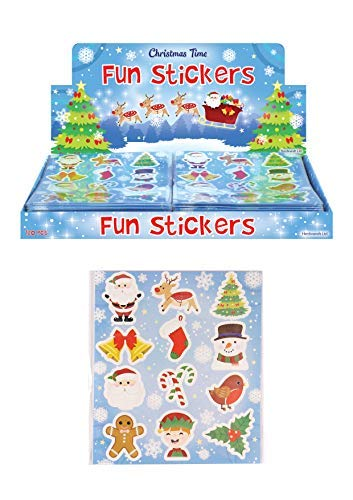 12 Packs of Christmas Fun Stickers - Great Stocking Filler, Party Bag Filler or Favor by Henbrandt