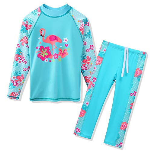 faa296a8b2736 HUAANIUE Girls 3-12 Years 2PC Swimwear set Long Sleeve Swimsuit Kids Print  Flower Sunsuit
