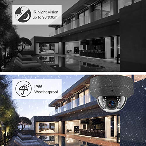 5MP POE IP-Kamera IR mit Nachtsicht, Überwachungskamera für Outdoor/Indoor Wasserdicht, H.265 / H.264