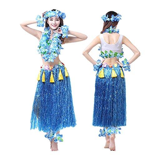 Imagen de hawaiano hula vestido falda hierba guirnaldas de flores accesorios de playa dance costume disfraces azul alternativa