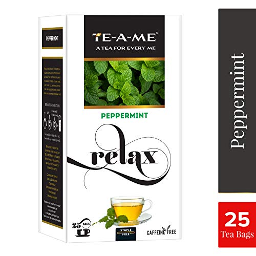 TE-A-ME Peppermint Fruit and Flower Infusion, 25 Tea Bags (3 Flavored Bags Free)