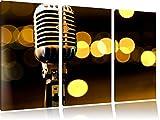 Altes Retro Mikrofon 3-Teiler Leinwandbild 120x80 Bild auf Leinwand, XXL riesige Bilder fertig gerahmt mit Keilrahmen, Kunstdruck auf Wandbild mit Rahmen, gänstiger als Gemälde oder Ölbild, kein Poster oder Plakat