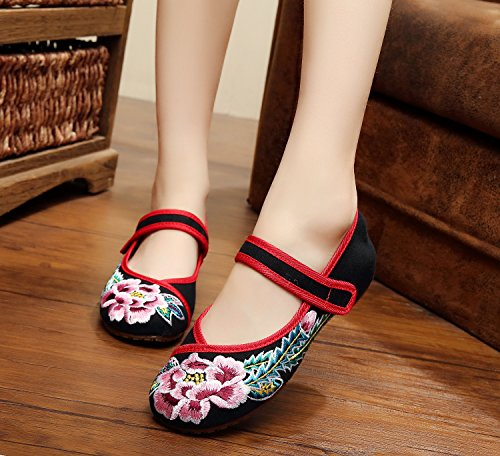 DESY pattini ricamati, biancheria, unico tendine, stile etnico, scarpe femminili, moda, comodi, scarpe da ballo Black