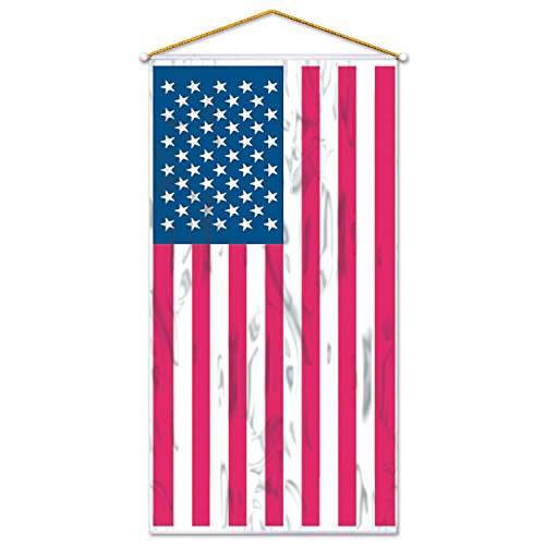 Beistle 50329American Flagge Tür/Wand Panel, 76,2cm X 5', rot/silber/blau - 5' Wand