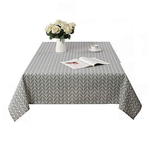 Saebye Tischdecke Abwaschbar, Graues Leinen Tischdecken Rechteck, Pflegeleicht Bequem Schmutzabweisend, mit Geometrisches Muster, Größe Optionalg (Graue Streifen,140x200)