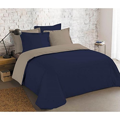 VISION Parure de couette 100% Coton bicolore réversible - 1 Housse de couette 200x200 cm + 2 Taies d'Oreillers MARINE / TAUPE