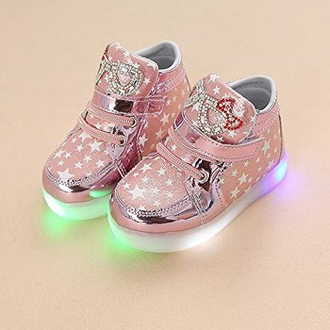 Chaussures LED enfants chaussures légères stillshine - filles clignotant Sport Running Sneakers Baby Shoes Halloween cadeau de Noël (22, Rose)