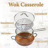 Grand Innovation Copper-12 Inch Wok Casseruola Base induzione in ceramica antiaderente con coperchio in vetro