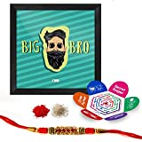 Indigifts Rakshabandhan Gifts For Brother Big Bro Quote Printed Gift Set Of Poster Frame - Crystal Rakhi For Brother, Roli, Chawal & Greeting Card - Rakhi For Brother With Gifts, Raksha Bandhan Gifts, Rakhi Gifts For Brother