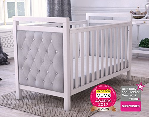 Babymore Velvet Deluxe Cot Bed  Diamante and velvet tufted upholstery Distinctive design for nursery Generous 5 cm solid wood structure, last for years of use 2